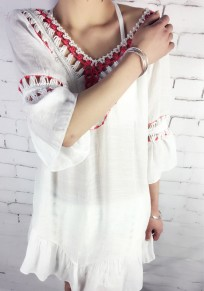 White Patchwork Backless Hollow-out Ruffle Tie Back Bohemian Midi Dress