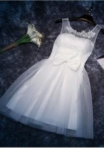 White Patchwork Zipper Bow Grenadine Double-deck Lace Rhinestone Mini Dress