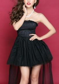 Black Plain Drawstring Grenadine Bandeau Sleeveless Mini Dress