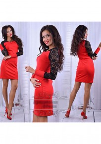 Red Patchwork Lace Long Sleeve Fashion Mini Dress