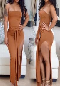 Brown Bandeau Sashes Off Shoulder Thigh High Side Slits Club Midi Dress