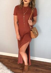 Dark Red Double Slit Round Neck Short Sleeve Maxi Dress