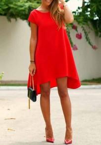 Vesteito midi irregolare manica corta manica corta moda rosso