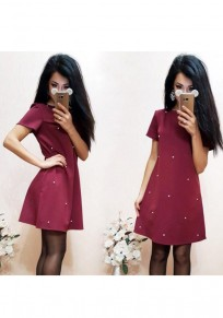 Wine Red Beading Round Neck Short Sleeve Casual Mini Dress