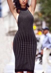 Vestido de mediana edad festoneado diamante de imitación cuello redondo negro