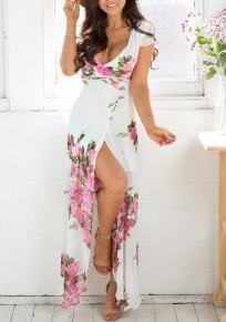 Pink Floral Plunging Neckline Short Sleeve Maxi Dress