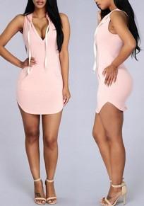 Mini vestido bolsillos irregulares cordón sin mangas moda rosa