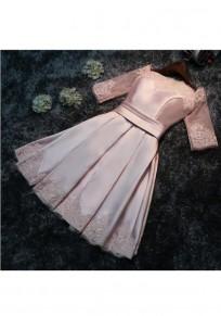 Mini-robe fermeture éclair en dentelle plissée rose