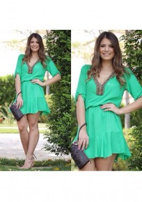 Green Embroidery Pleated V-neck Elbow Sleeve Mini Dress