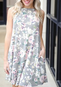Grey Flowers Print Backless Round Neck Sleeveless Mini Dress