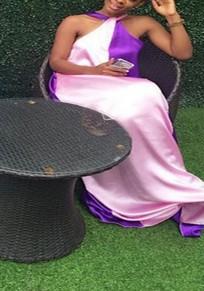 Purple And Pink Patchwork Draped Sleeveless Oversized Bohemian Floor Length Maxi Dress