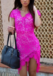 Rose Carmine Patchwork Lace Irregular Short Sleeve Fashion Midi Dress
