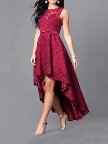Burgundy Patchwork Lace Embroidery High-low Sleeveless Formal Evening Party Prom Maxi Dress