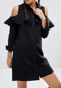 Black Ruffle Single Breasted Turndown Collar Off-shoulder Cute Mini Dress