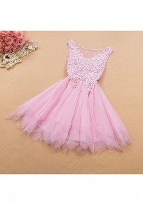 Pink Patchwork Grenadine Irregular Appliques Sequin Fashion Mini Dress