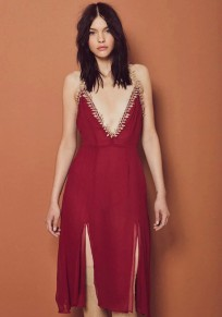 Wine Red Appliques Cross Back Backless Midi Dress
