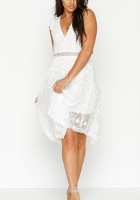 White Patchwork Lace Irregular Backless See-through Mini Dress