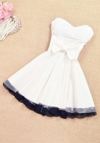 White Patchwork Lace Bow Bandeau Bridesmaid Mini Dress