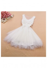 White Patchwork Lace Grenadine Irregular Bridesmaid Mini Dress