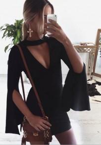 Black Zipper Cut Out V-neck Long Sleeve Mini Dress