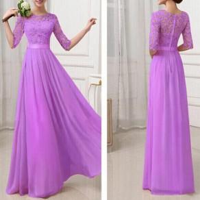 Robe longue de bal avec dentelle mousseline manches au coude élégant soirée violet