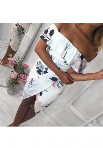 White Flowers Print Ruffle Slit Boat Neck Midi Dress