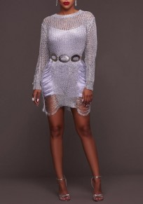 Silver Hollow-out Irregular High-low Side Slit Long Sleeve Sweater Mini Dress
