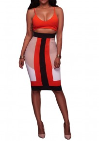 Multicolor Patchwork Cut Out Spaghetti Strap Backless Bodycon Club Midi Dress