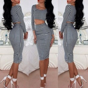 White-Black Plaid Round Neck Long Sleeve High Waisted Two Piece Midi Dress