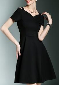 Black Hollow-out Draped Short Sleeve Elegant Mini Dress