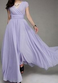 Robe longue en mousseline drapé v-cou manches courtes élégant bal de promo violet