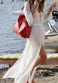 White Drawstring Single Breasted Side Slit See-through Cover-Up Bikini Smock Chiffon Maxi Dress