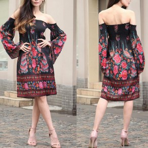 Multicolor Floral Print Pleated Boat Neck Off-shoulder Flare Sleeve Vintage Midi Dress