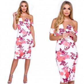 Pink Floral Print Bandeau Off Shoulder Backless Bodycon Midi Dress