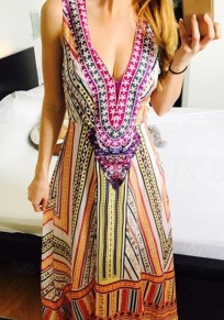 Yellow Floral Drawstring Plunging Neckline Fashion Maxi Dress