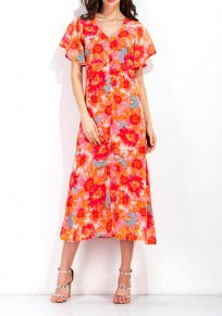 Nacarat Flowers Cut Out Zipper Open Back Chiffon Maxi Dress