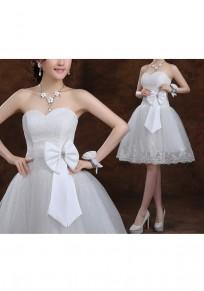White Patchwork Grenadine Bandeau Lace Bow Double-deck Fashion Mini Dress