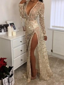 Golden Grenadine Sequin Tassel Slit Side Sheer Deep V-Neck Clubwear Party Maxi Dress