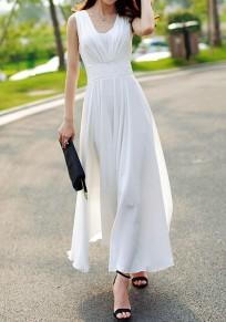 White Double-deck Zipper Side Pull Bohemian Elegant Wedding Maxi Dress