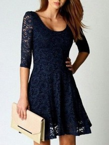 Blue Patchwork Lace Hollow-out Round Neck Sleeveless Casual Mini Dress