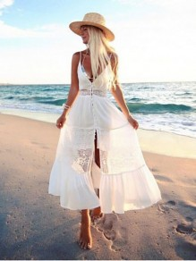 White Patchwork Lace Pleated Ruffle Slit Spaghetti Strap Backless Beach Boho Midi Dress