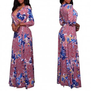 Pink Flowers Print Sashes 3/4 Sleeve A-line Bohemian Maxi Dress