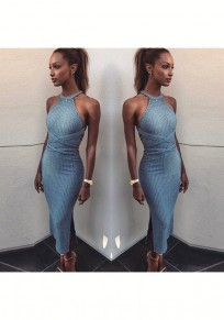 Blue Cross Back Tie Back Side Slit Fashion Maxi Dress