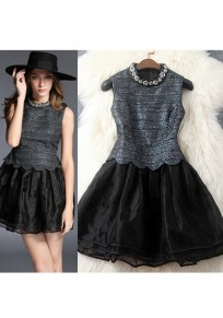 Mini-robe rhinestone grenade manches volantées boutons mode noir
