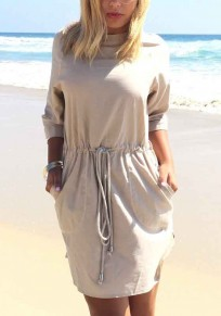Khaki Pockets Round Neck Elbow Sleeve Drawstring Waist Mini Dress