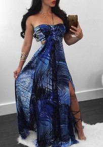 Blue Floral Tie Back Bandeau Cut Out Backless Halter Neck Maxi Dress