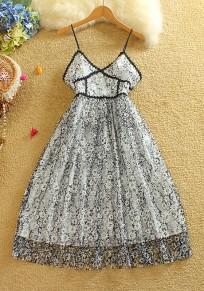 Black Floral Hollow-out Lace Condole Belt Zipper Double-deck Midi Dress