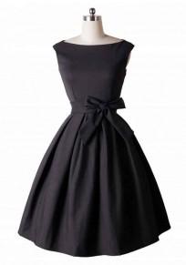 Midi-robe fermeture éclair plissée col rond sans manches noir