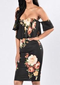 Black Flowers Print Ruffle Bandeau Boat Neck Off-shoulder Bodycon Bohemian Mini Dress