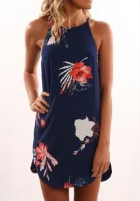 Blau Blumen Condole Gürtel Unregelmäßiger Rundhals Mini Kleid